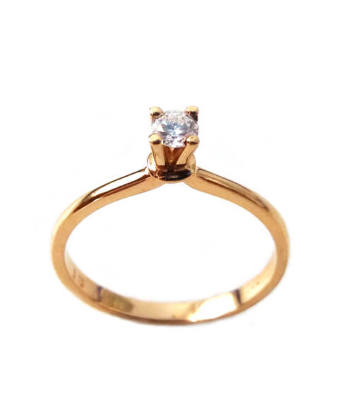 RED GOLD SOLITAIRE DIAMOND RING K18